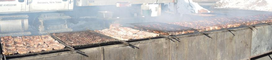 The food is cooking for the Brooks BBQ