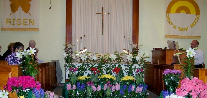 The chancel on Easter morning